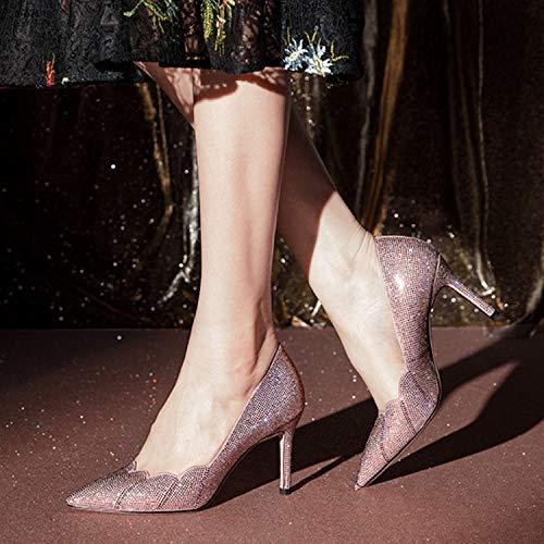 Bombas Boda Diamantes Matorral Alto Sexy De Boca 35eu Imitación pink Puntiagudo Womens Zapatos Stiletto Tacón Cristal znxw7PB