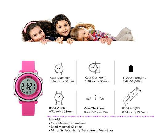 WUTONYU(TM) Children Digital Watch Kids Boy Girls LED Alarm Stopwatch Waterproof Wristwatches(Black) by WUTONYU (Image #6)