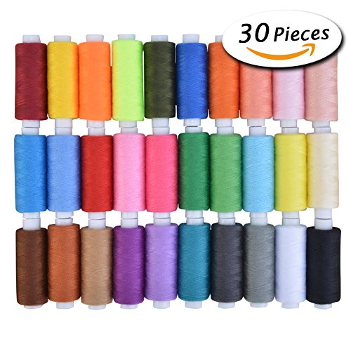 Paxcoo 30 Assorted Color Polyester Sewing Thread Spools 250 Yards Each (Kit Polyester Thread)