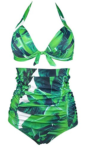 COCOSHIP Bottle Green Banana Leaf & White Print Halter High Waisted Two Piece Bikini Gorgeously Dressed Vintage Bathing Suit XXXXL(FBA)