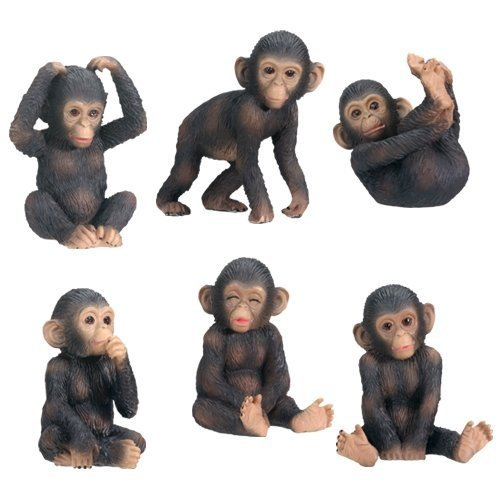 Chimp Chimpanzee - Chimpanzees (Set Of 6) - Collectible Figurine Statue Sculpture Figure