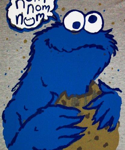 NOM NOM NOM Krümelmonster Cookie Monster Sesamstraße Herren T-Shirt Gr. XL  - SPORTS GREY  Amazon.de  Sport   Freizeit fcbaccb403