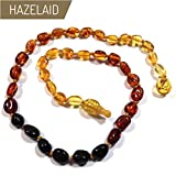 Hazelaid (TM) 14'' Pop-Clasp Baltic Amber Rainbow Bean Necklace