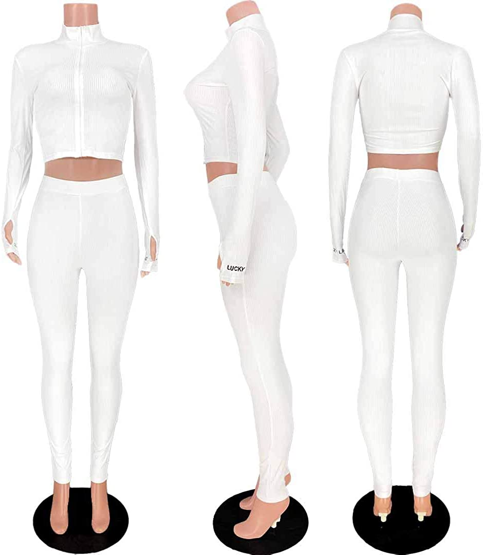 Womens Embroidery 2 Piece Outfits Zip Long Sleeve Top and Bodycon Pants Sweatsuit Tracksuit Sets