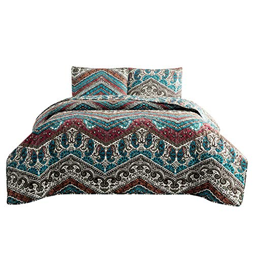 HollyHOME 3 Piece Printed Quilt Coverlet Set King Size 102x86 with 2 Shams Lightweight Design for Spring and Summer Microfiber Bedspread Sets, Colorful Bohemian Wave Pattern