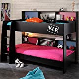 Kids Storage Bunk Bed, Happy Beds High Tek Black Wood Modern Twin Sleeper - Euro Single (90 x 200 cm) with 2 x Spring Mattresses Included