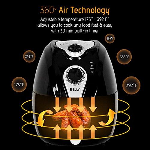 Della Electric Air Fryer w/Temperature Control, Detachable Basket and Handle - Black, 1500W