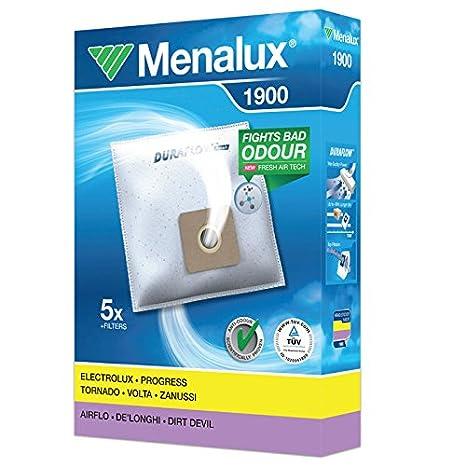 Menalux 1900 Pack con 5 Bolsas y 1 Filtro para Aspiradores Electrolux, Progress, Tornado, Volta, Zanussi, Airflo, DeLonghi y Dirt Devil