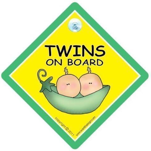 De b/éb/és jumeaux /à bord /à bord voiture avec enfant On Board Panneau b/éb/é/à bord mixte unisexe avec inscription Baby On Board Panneau de signalisation Baby On Board Panneau b/éb/é/à bord j