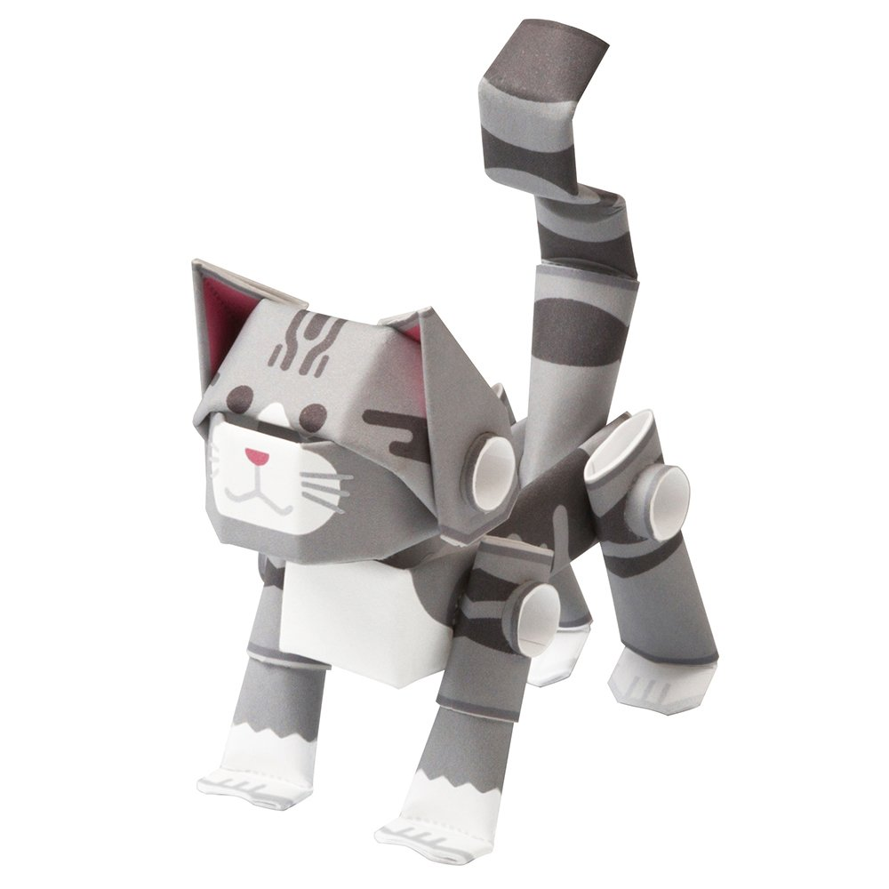 LTD Paper Craft kit from Japan KOTO CO PIPEROID Animals Cats Silver Tabby
