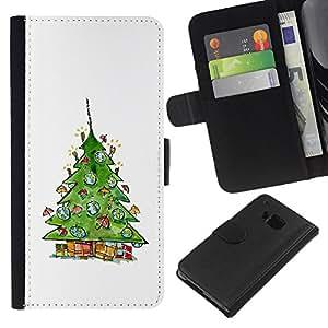 KLONGSHOP // Tirón de la caja Cartera de cuero con ranuras para tarjetas - Árbol del invierno en Santa Blanca - HTC One M7 //
