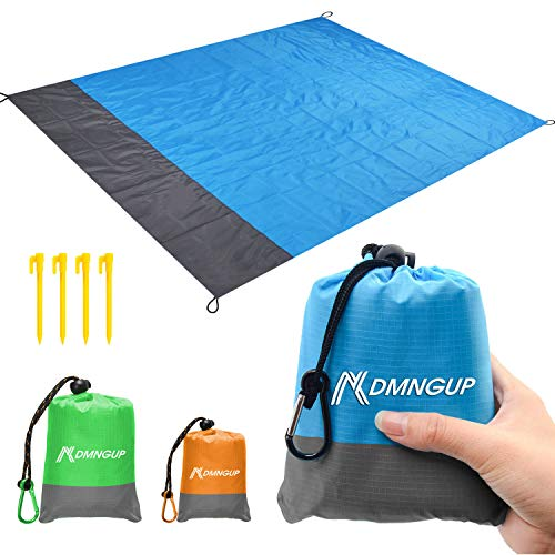Beach Blanket Sand Proof & Compact Pocket Blanket Soft Drying Ripstop Nylon Beach Mat for Outdoor, Waterproof Picnic Mat for Travel, Hiking, Camping, Festival,Super Large Beach Mat Perfect for Family]()