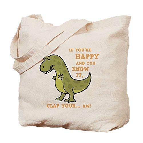 CafePress–t-rex-clap-2-dkt–Gamuza de bolsa de lona bolsa, bolsa de la compra Small caqui