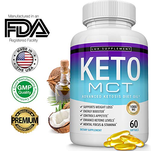 Lux Supplement Keto Mct Oil Softgels Advanced Ketosis Diet - 1000 Mg Natural Pure Coconut Oil Extract Pills for Ketogenic & Ketone Diet, Easy to Digest Fuel for Energy & Brain, Men Women, 60 Softgels