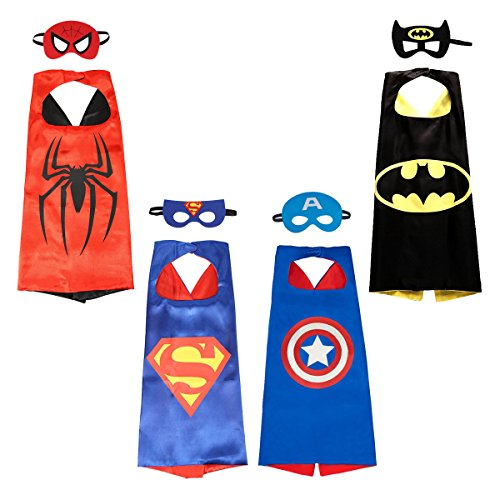 [Asgift Cartoon Costume 4 Satin Cape with Felt Mask Costumes for Kids] (Four Group Costumes)