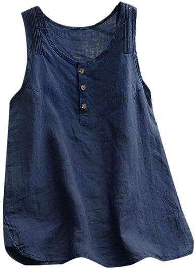 TUDUZ Blusas Mujer Sin Mangas Verano Lino Camisas Color Sólido Vintage Camisetas Tallas Grandes: Amazon.es: Ropa y accesorios