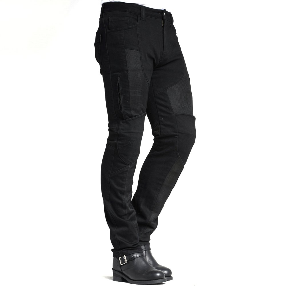 MAXLER JEAN Biker Jeans for men Motorcycle Motorbike riding kevlar Jeans 1614 for summer Black 38