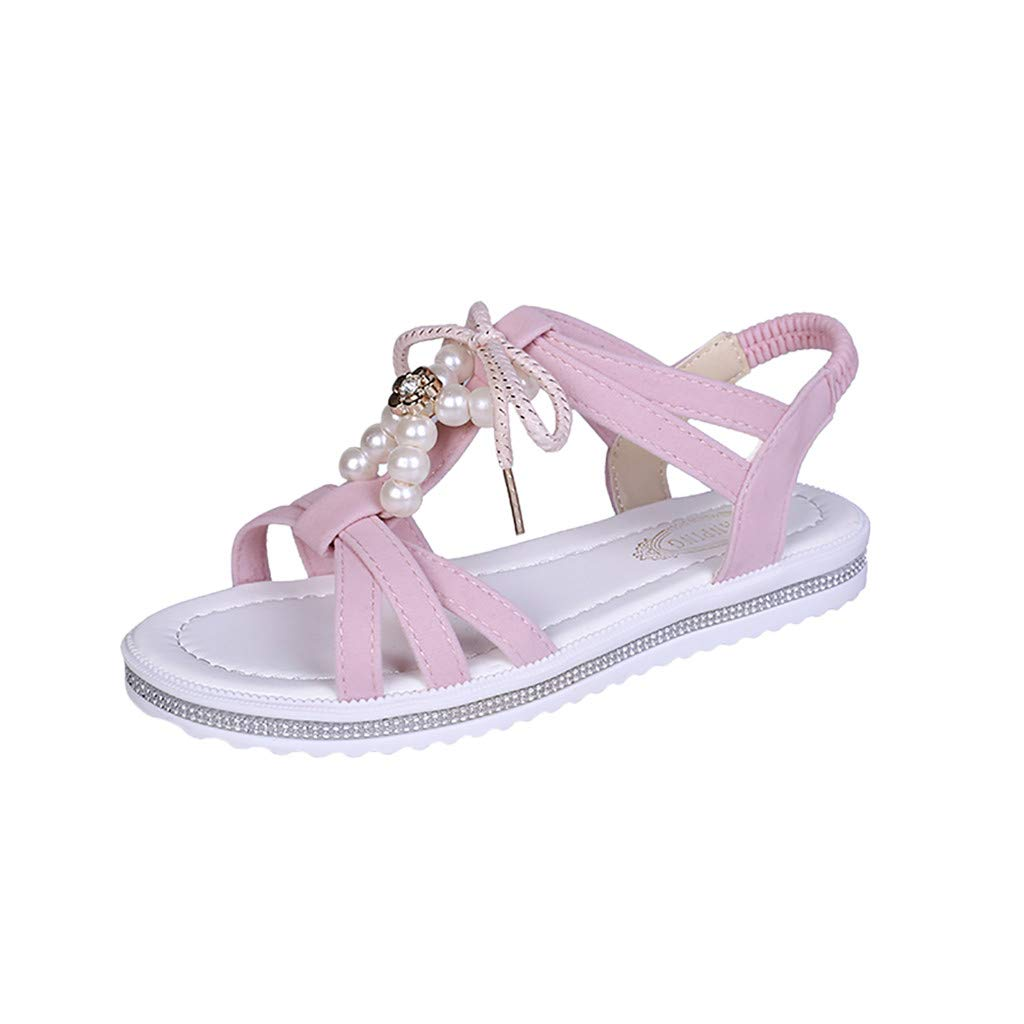 Fastbot Women's Summer Sandals Open Toe Casual Comfort Fashioh Square Heels Shoes Ladies Flock String Bead Round Toe Pink