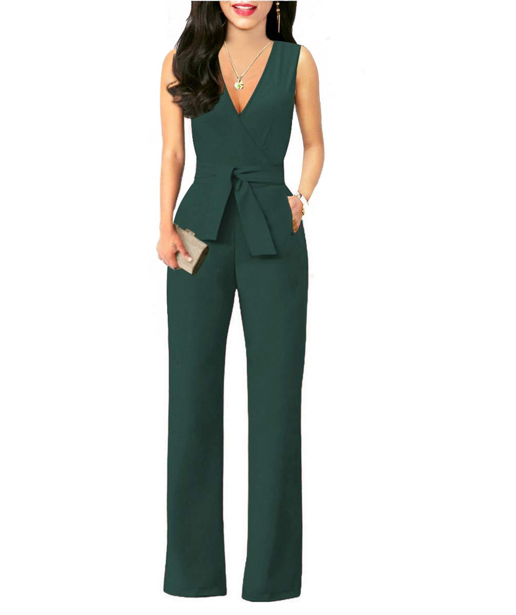 Chic-Lover Women's Elegant Solid Jumpsuit Wrap Top High Waisted Wide Leg Long Pants Jumpsuits Romper with Belt (L, 8317-Jasper)