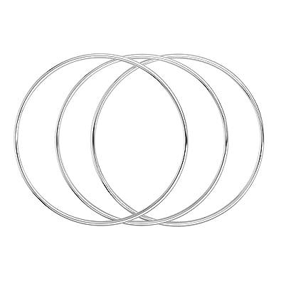 Merdia Three 925 Sterling Silver Bangle Bracelets Set for Women and girls - 6cm hNTmEU9