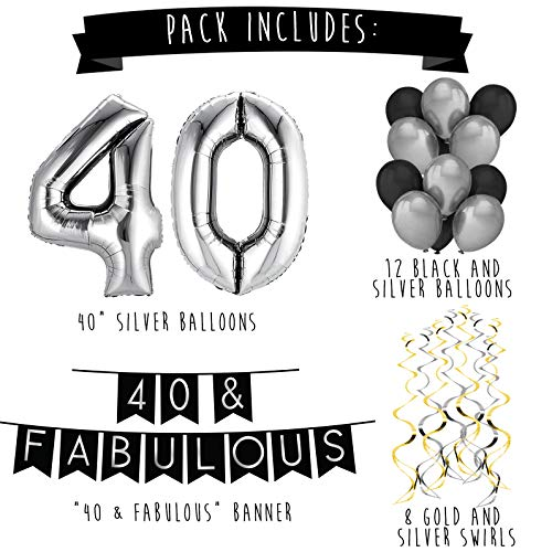 40 Fabulous Birthday Party Pack Black Silver Happy