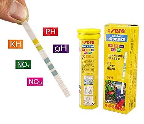 Sera 5 en 1 Fácil de tiras de prueba Kit de prueba de pH GH KH No2 No3 Acuario Fish Tank Agua Kit De Prueba: Amazon.es: Productos para mascotas