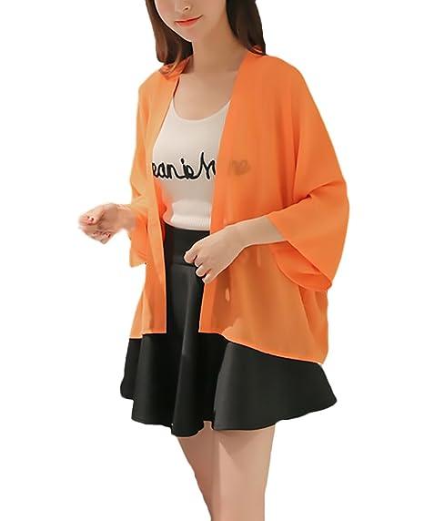 Cardigan Mujer Verano Elegantes Moda Color Sólido Gasa Camisas Ropa Fiesta Modernas Manga Larga Suelto Casual