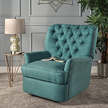 Palermo Tufted Recliner Dark Teal, Tufted Fabric Power Reclining Chair