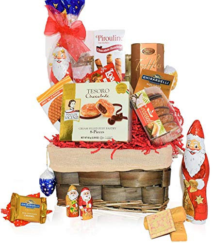 Christmas Basket – Santa, Chocolate, Truffles, Gourmet, Food, Holiday Gift Variety Care Package for Family, Friends, Colleagues, Office, Men, Women, Corporate, College Students