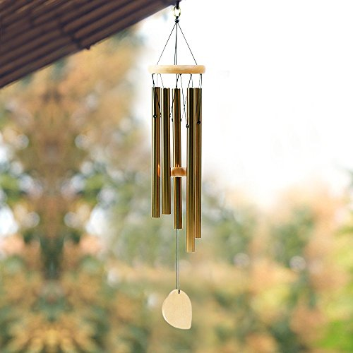 Aipker Wind Chimes for Outdoor Indoor Garden Home Patio - Amazing Grace Wind Chime with 5 Long Aluminum Tubes Gold