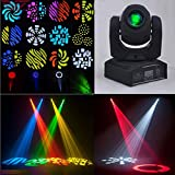 Sumger Ship by DHL DMX-512 Mini Moving Head Light RGBW LED Stage PAR Light with Shapes Automatic Professional 9/11 Channel Party Disco Show 40W AC 100-240V Sound Active