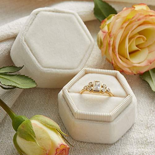 Velvet Ring Box Pearl, Hexagon Shape, Engagement Ring Box, Ring Bearer Box, Wedding Ring Box, Wedding Photo Shoot, Engagement Photo Shoot, Bridal Gift