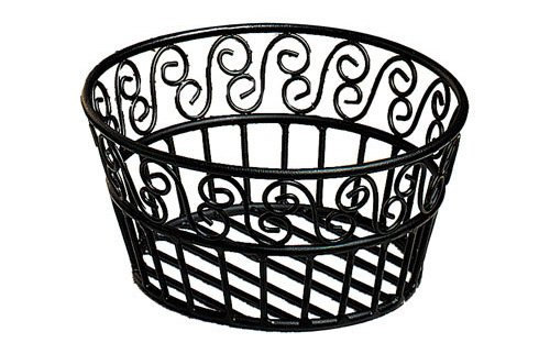 "American Metalcraft (BLSB93) 9"" Scroll Design Wrought Iron Round Bread Basket"