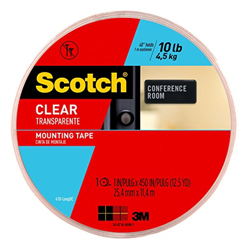 Scotch Clear Mounting Tape, 1-inch x 450-inches, 1-Roll