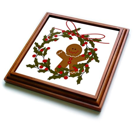 (3dRose Wreath with Gingerbread Man and Holly Trivet with Ceramic Tile, 8 by 8