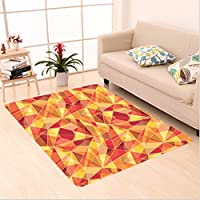 Nalahome Custom carpet tract Mosaic Pattern with Fractal Triangle Geometric Fragments Digital Print Orange Marigold Red area rugs for Living Dining Room Bedroom Hallway Office Carpet (6 X 9)