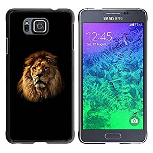 Paccase / SLIM PC / Aliminium Casa Carcasa Funda Case Cover para - Lion Mane Black Minimalist Powerful - Samsung GALAXY ALPHA G850