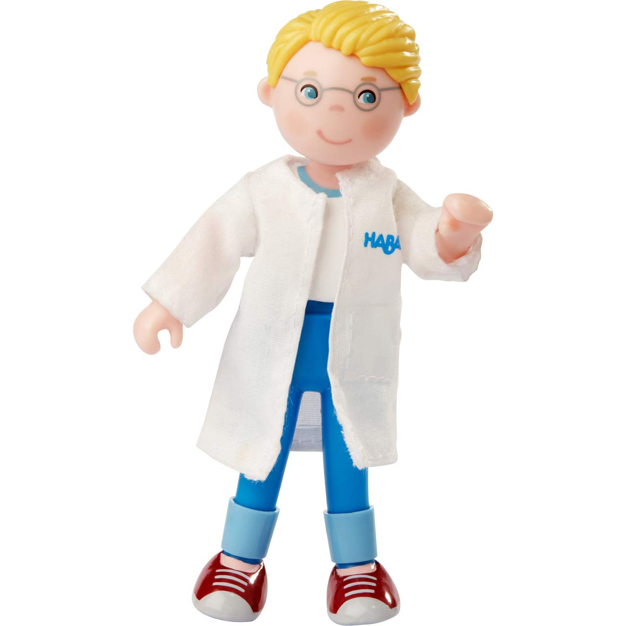 HABA Little Friends Veterinarian Andreas 4.5 Bendy Doll Figure with Posable Limbs and Removable Lab Coat 303894
