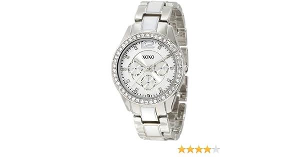 Amazon.com: XOXO Womens XO5479 Silver-Tone And White Bracelet With Rhinestones Bezel Watch: Watches