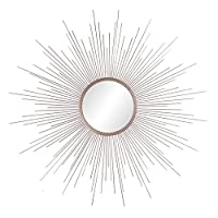 Patton Wall Decor Champagne Rays Metal Framed Sunburst Mirror, Gold
