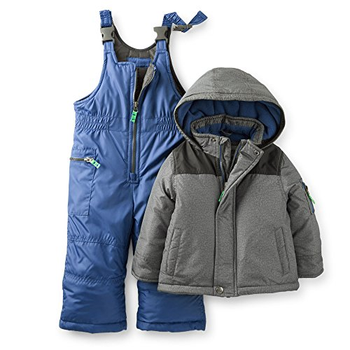 2 Piece Snowsuit Set (Carter's Baby Boys' 2-piece Snowsuit Set (12 Months, Blue/Grey))