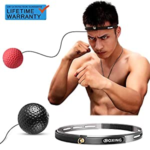 Kaqulec Boxing Reflex Fight Ball Headband Speed Punching Ball Raise Reaction,Agility & Hand Eye Coordination Training…