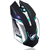 Besde Computer Accessories Rechargeable Wireless Silent Gaming Mouse, Besde Wireless Rechargeable Mouse with Colorful Led Lights and 1000/1200/1600/2400 Dpi Lithium Battery for Laptop and Comput