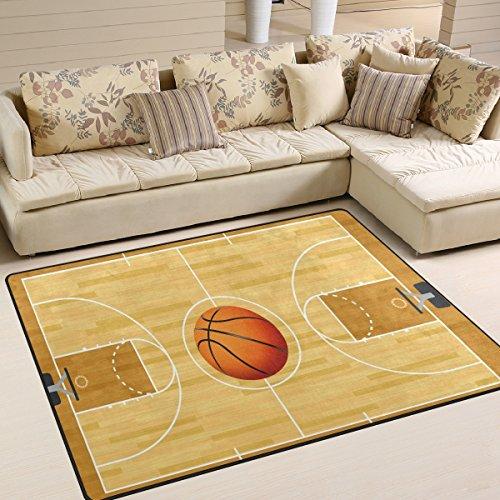 ALAZA Area Rug 7'x5' Realistic Hardwood Textured Basketball Center Court Non-Slip Floor Mat Carpet for Living Dining Bedroom