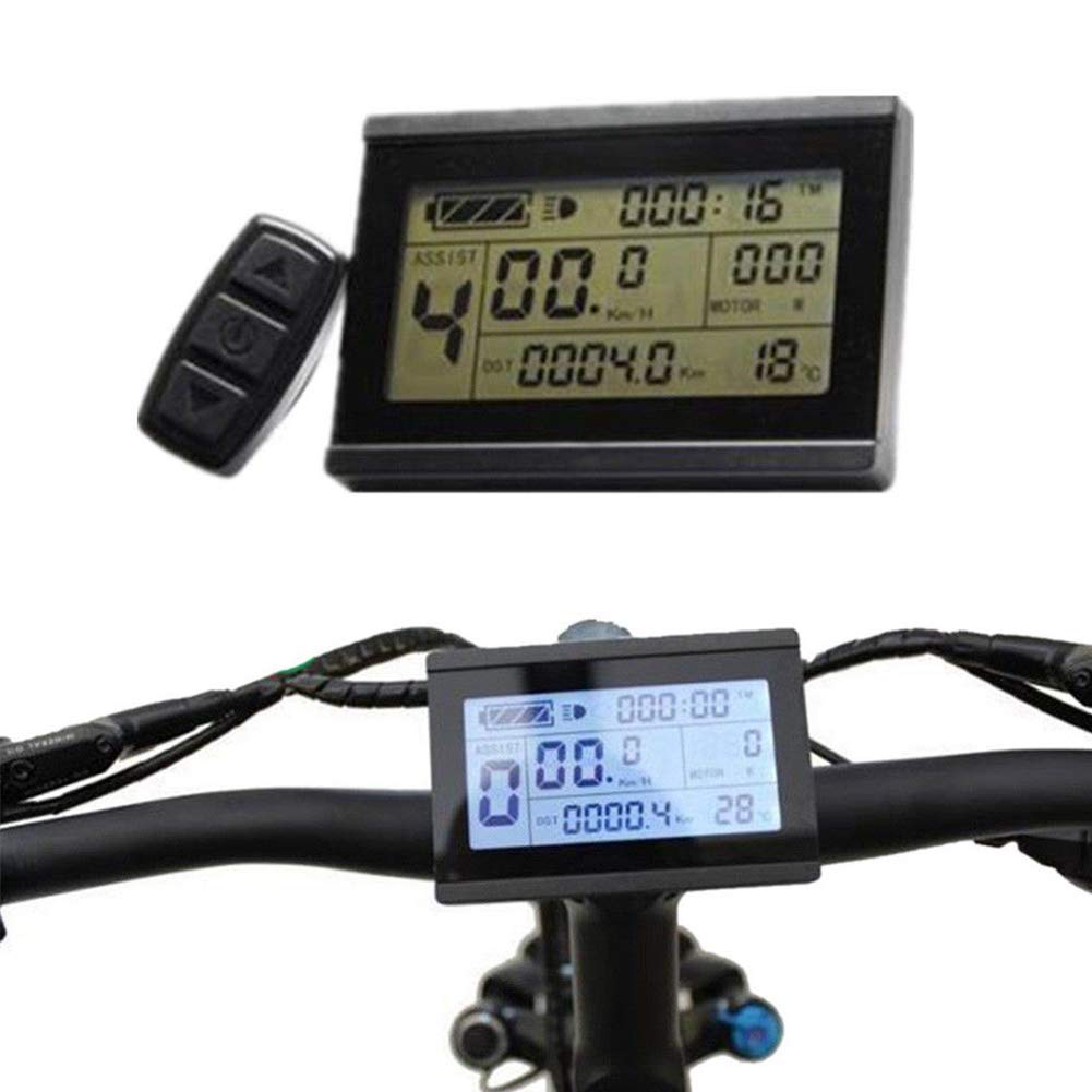 Shentesel Electric Bicycle eBike LCD Display Meter Panel Remote Control Odometer 24/36/48V