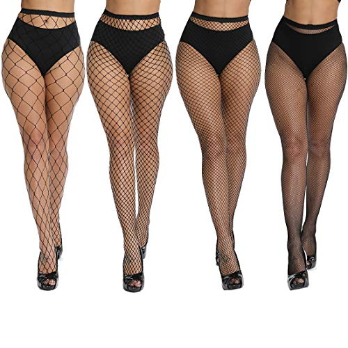 akiido High Waist Tights Fishnet Stockings Thigh High Stockings Pantyhose (1-A-4Pairs1)