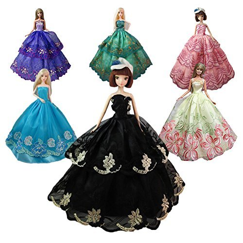 Sakiyr Doll Clothes, Doll Dresses - Quality Fashion Wedding Party Gown Outfits for Doll Xmas-Gift (6PCS-Random) -