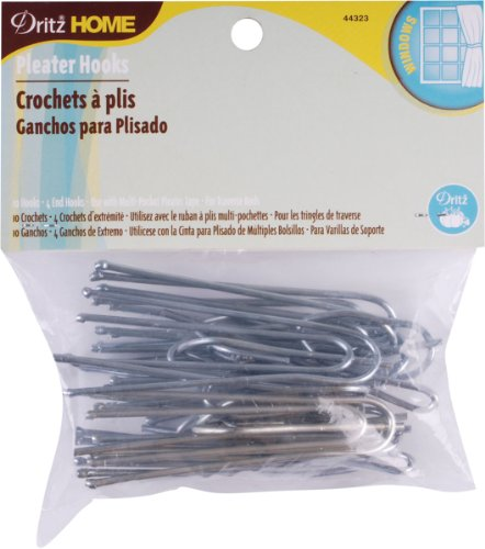 Pleater Hooks (Dritz 44323 Traverse Pleater 4 End Hooks, 3-Inch, 10-Pack)