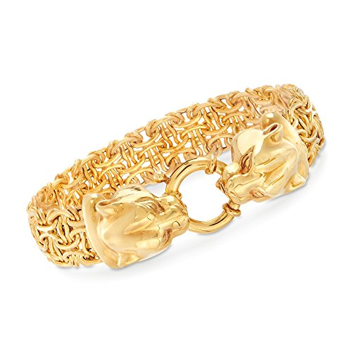 Ross-Simons Italian 14kt Yellow Gold Double Panther Head Link Bracelet ()