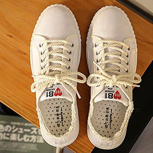 9 all'abrasione Scarpe unisex da MUS Blue sportive denim Resistente scarpe Dimensione uomo basse in Color stile amp;Baby piatte Sunny Bianca stringate amante H5ZxSqp